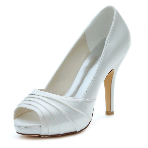 Peep Toe Platform Pumps Stiletto Heel Satin Wedding Shoes