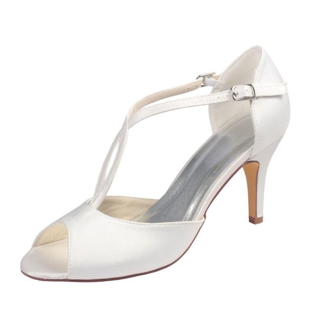 Peep Toe Pumps Wedding Shoes Stiletto Heel Satin Wedding Shoes With Buckle