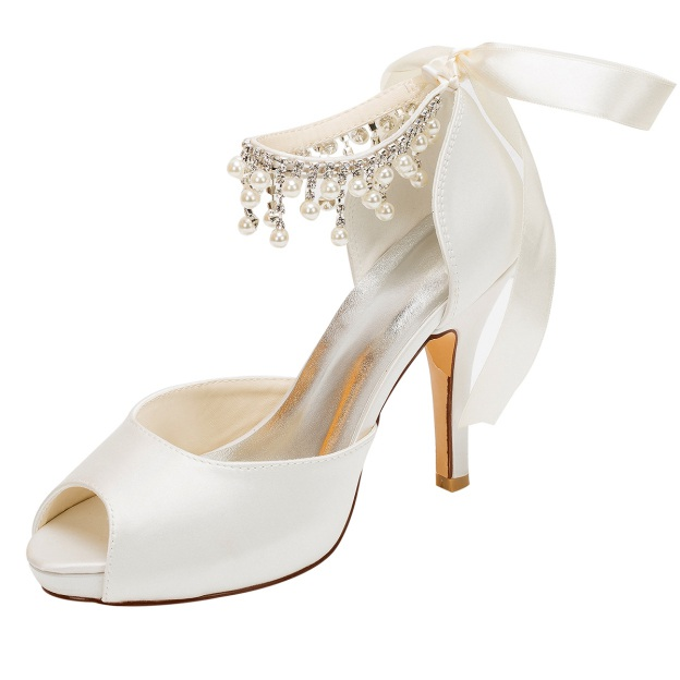 Pumps Platform Peep Toe Stiletto Heel Satin Wedding Shoes With Ribbon Tie Imitation Pearl Rhinestone