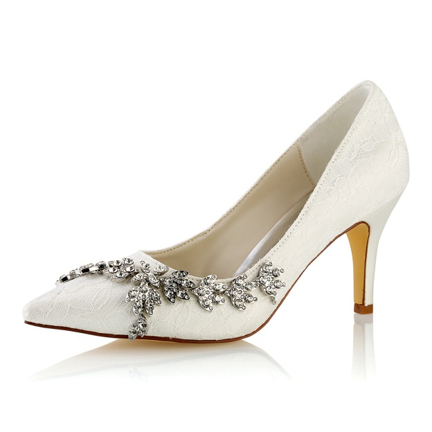 Close Toe Pumps Wedding Shoes Stiletto Heel Satin Wedding Shoes With Crystal Rhinestone