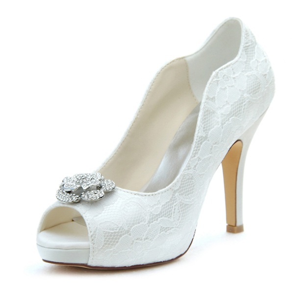 Peep Toe Platform Pumps Stiletto Heel Lace Wedding Shoes With Rhinestone