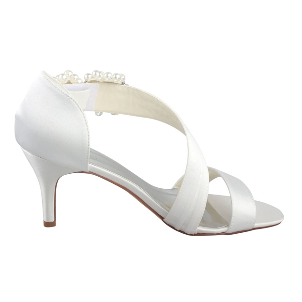 Pumps Sandals Wedding Shoes Stiletto Heel Satin Wedding Shoes With Imitation Pearl Rhinestone