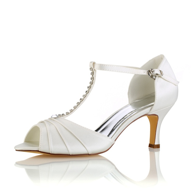 Peep Toe Stiletto Heel Satin Wedding Shoes With Pleated Rhinestone