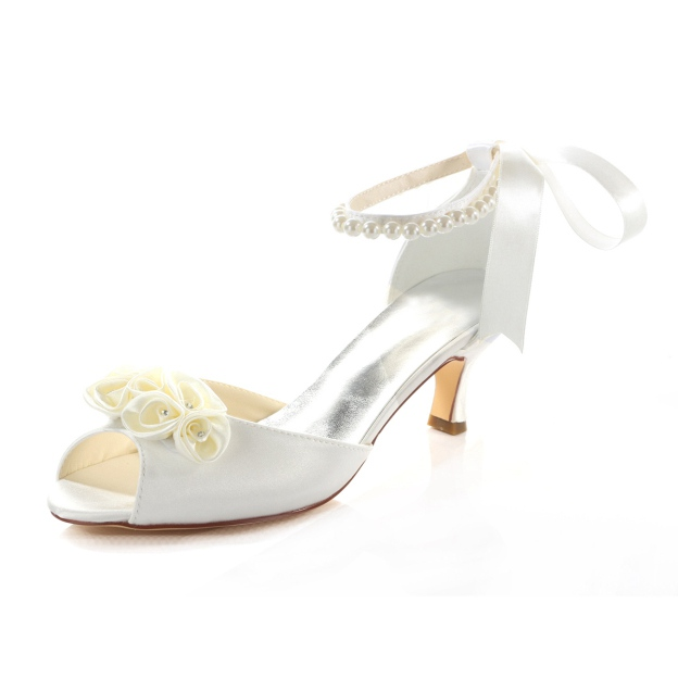 Peep Toe Wedding Shoes Spool Heel Satin Wedding Shoes With Flowers Imitation Pearl Ribbon Tie