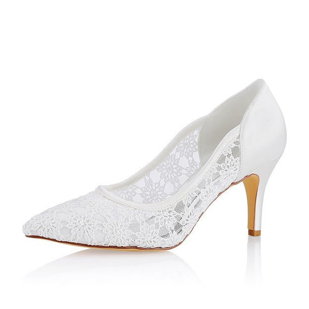 Close Toe Wedding Shoes Stiletto Heel Lace Wedding Shoes With Lace