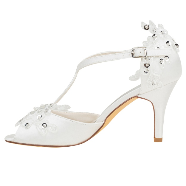 Peep Toe Pumps Wedding Shoes Stiletto Heel Satin Wedding Shoes With Appliqued Sequins