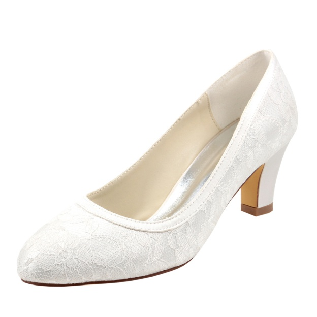 Close Toe Wedding Shoes Round Toe Low Heel Lace Wedding Shoes With Lace