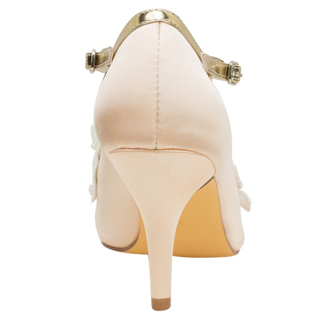 Round Toe Wedding Shoes Close Toe Stiletto Heel Satin Wedding Shoes With Imitation Pearl Appliqued Buckle