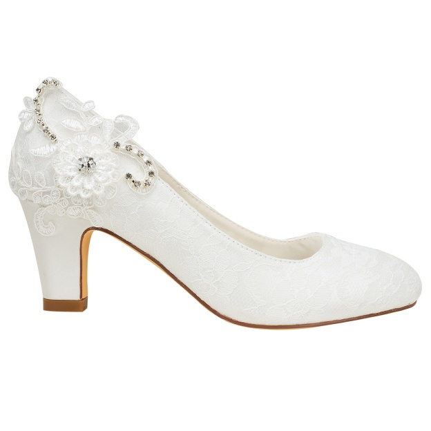 Close Toe Wedding Shoes Round Toe Low Heel Lace Wedding Shoes With Appliqued Rhinestone