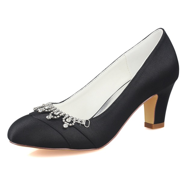 Close Toe Round Toe Low Heel Satin Wedding Shoes With Rhinestone