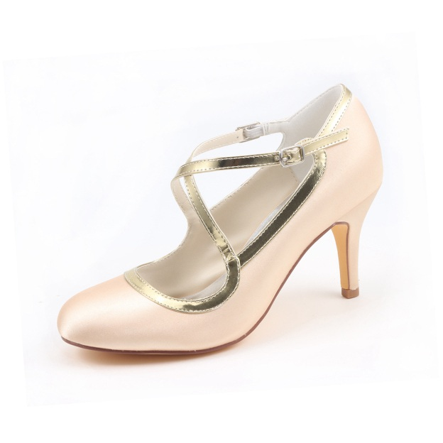 Close Toe Wedding Shoes Round Toe Stiletto Heel Satin Wedding Shoes With Buckle Others