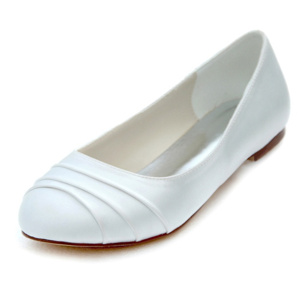 Close Toe Wedding Shoes Round Toe Flat Heel Satin Wedding Shoes