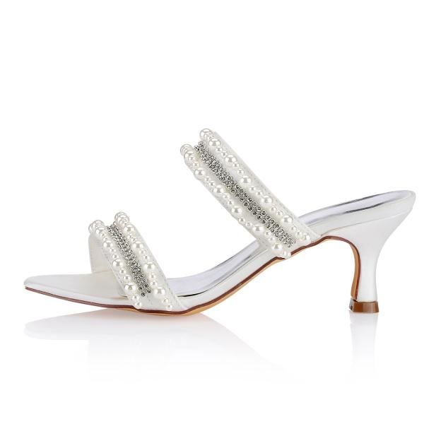 Sandals Slingbacks Spool Heel Satin Wedding Shoes With Beaded Rhinestone