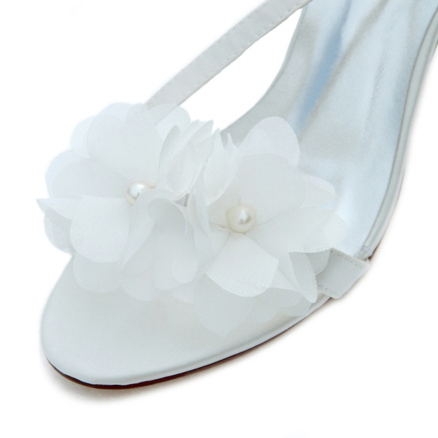Pumps Sandals Wedding Shoes Stiletto Heel Satin Wedding Shoes With Buckle Flowers Imitation Pearl
