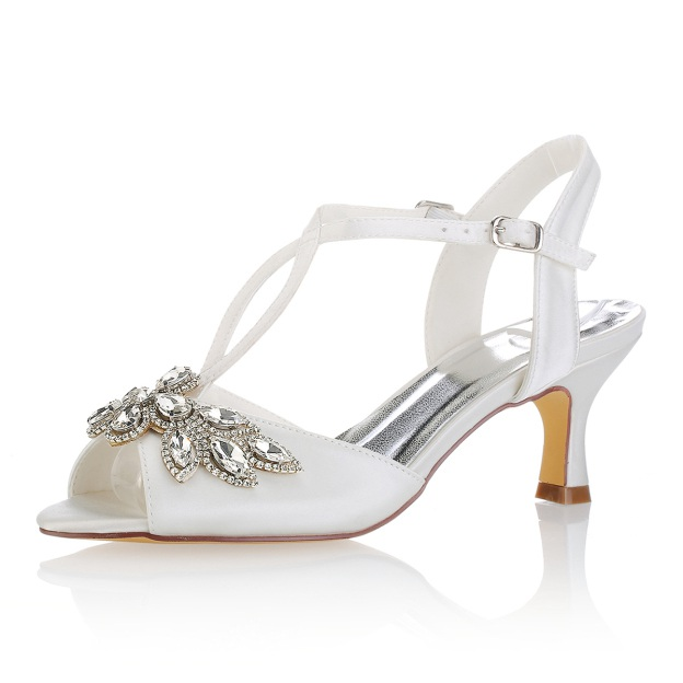 Peep Toe Sandals Slingbacks Spool Heel Satin Wedding Shoes With Crystal Rhinestone