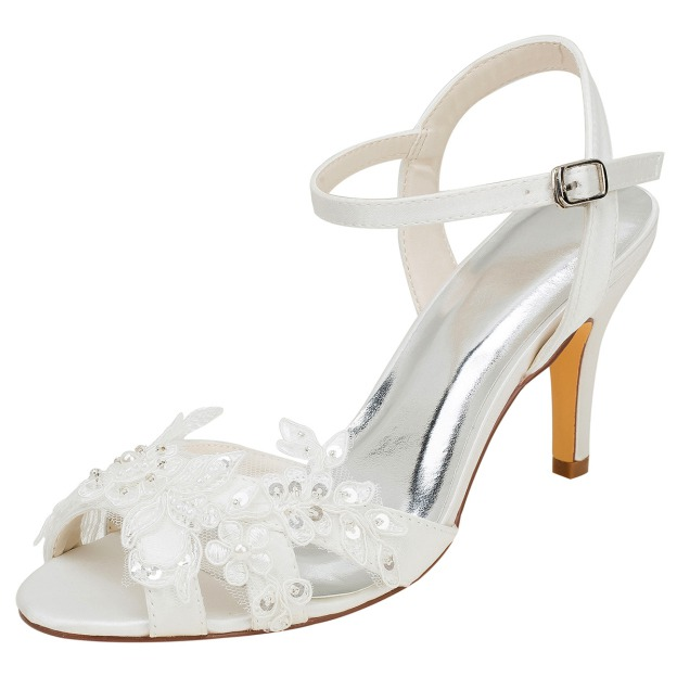 Pumps Sandals Wedding Shoes Stiletto Heel Satin Wedding Shoes With Appliqued Imitation Pearl Sequins