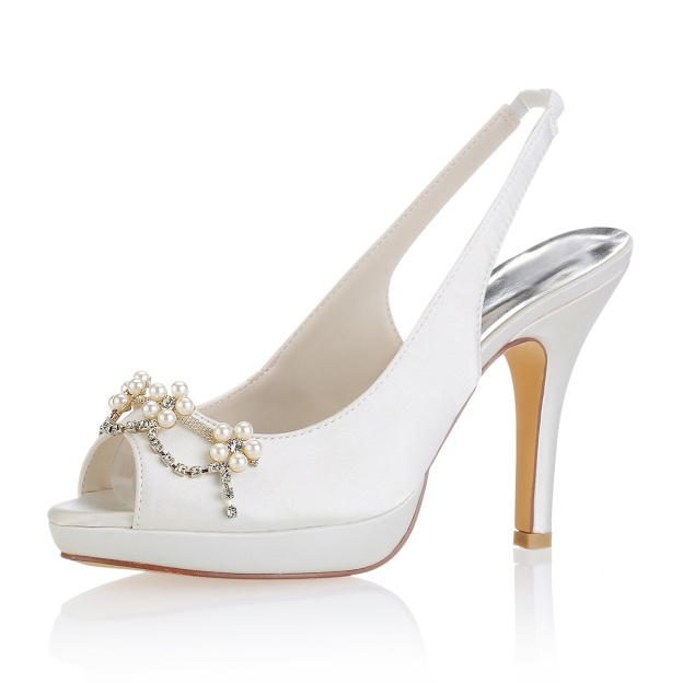 Peep Toe Pumps Slingbacks Wedding Shoes Stiletto Heel Satin Wedding Shoes With Beaded Rhinestone