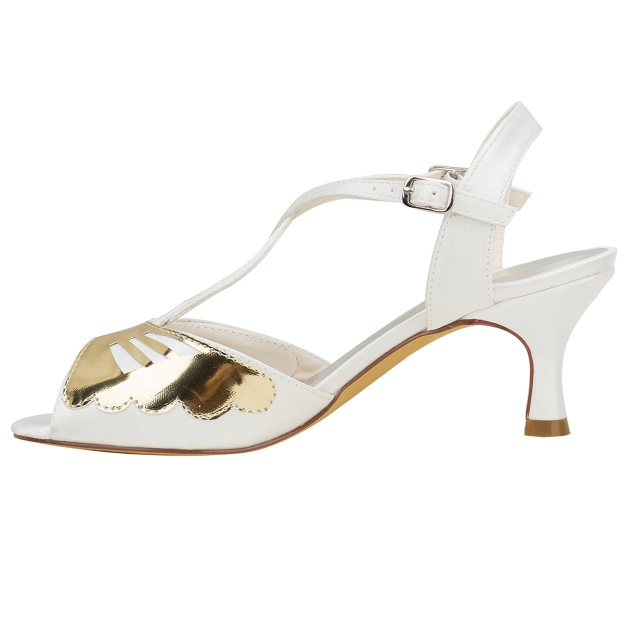 Sandals Wedding Shoes Spool Heel Satin Wedding Shoes With Buckle Others