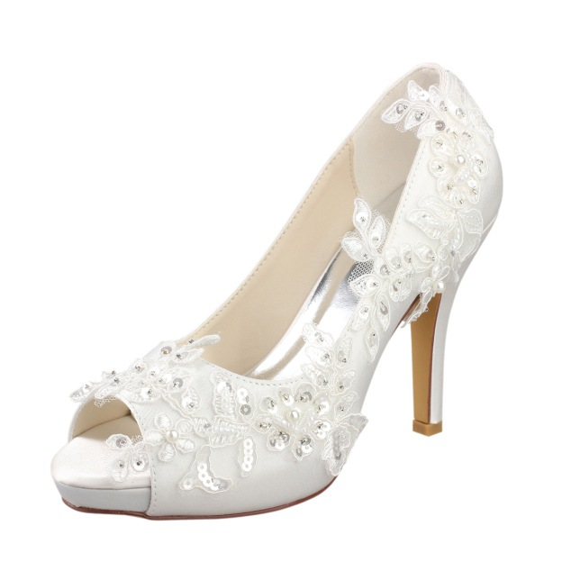 Peep Toe Platform Pumps Wedding Shoes Stiletto Heel Satin Wedding Shoes With Appliqued Imitation Pearl Sequins
