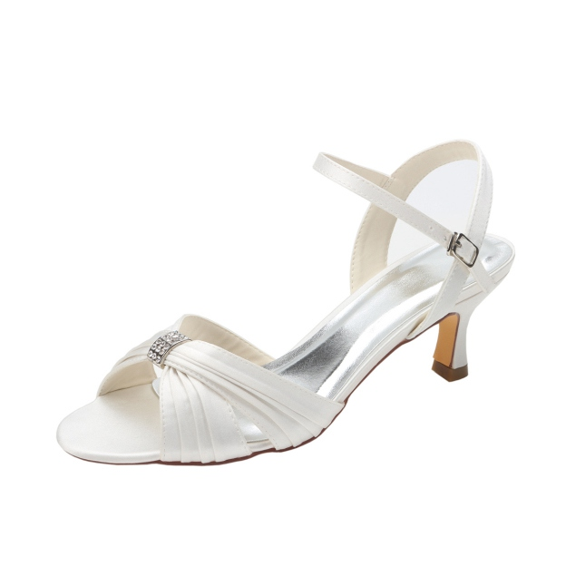 Sandals Wedding Shoes Spool Heel Wedding Shoes With Buckle Pleated Rhinestone
