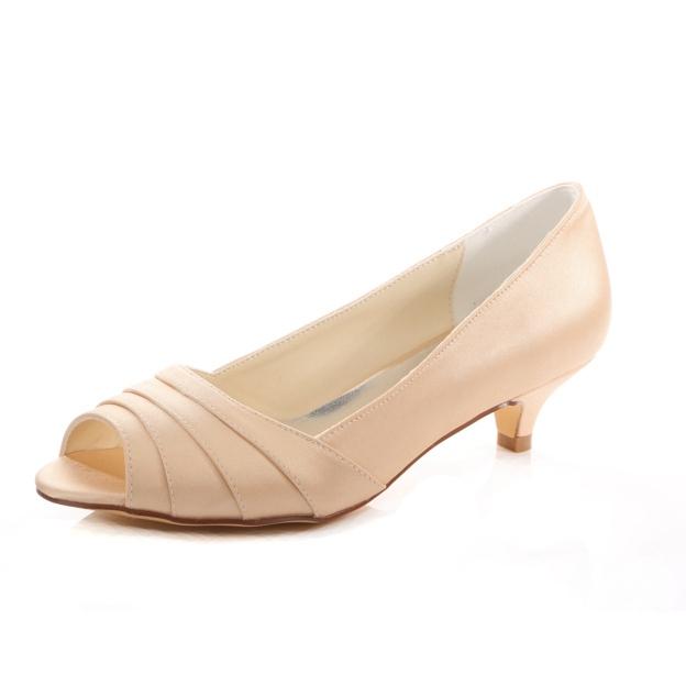 Peep Toe Wedding Shoes Kitten Heel Satin Wedding Shoes