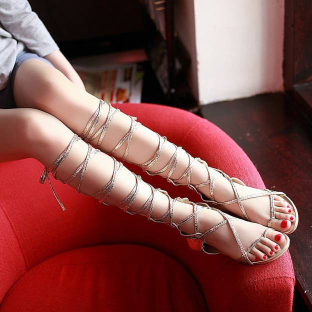 Sandals Flat Heel Pu Fashion Shoes With Zipper