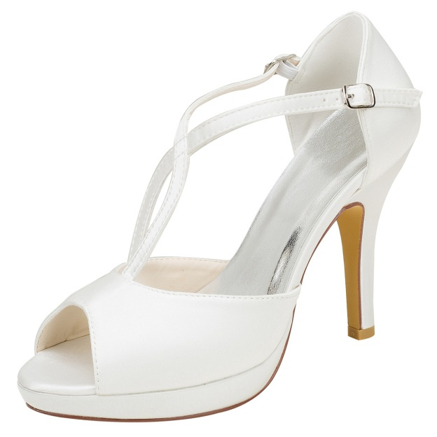 Peep Toe Platform Pumps Stiletto Heel Satin Wedding Shoes With Buckle