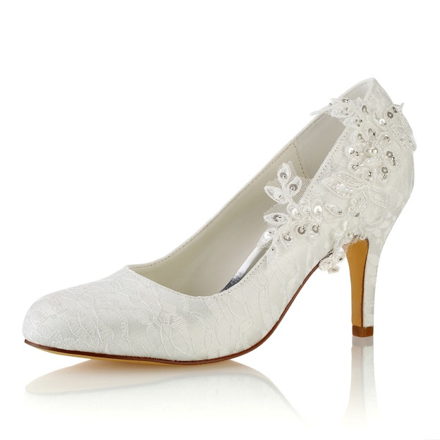 Close Toe Wedding Shoes Round Toe Stiletto Heel Lace Wedding Shoes With Appliqued Sequins