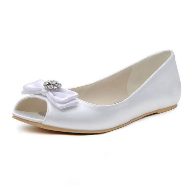 Flats Peep Toe Wedding Shoes Flat Heel Satin Wedding Shoes Bowknot Rhinestone