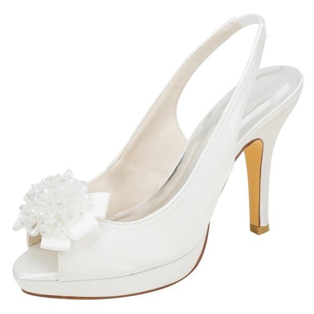 Peep Toe Platform Pumps Stiletto Heel Satin Wedding Shoes With Flowers Sequins