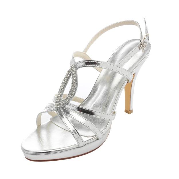 Platform Pumps Sandals Stiletto Heel Patent Leather Wedding Shoes With Buckle Rhinestone
