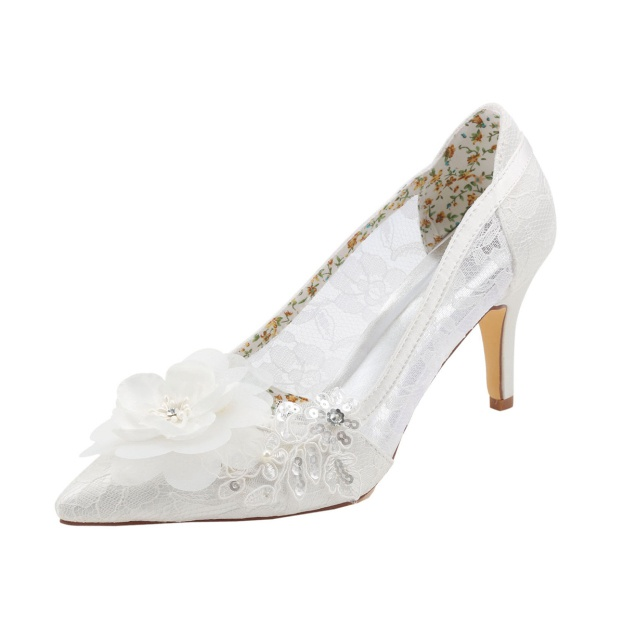 Close Toe Pumps Wedding Shoes Stiletto Heel Lace Wedding Shoes With Appliqued Flowers Sequins