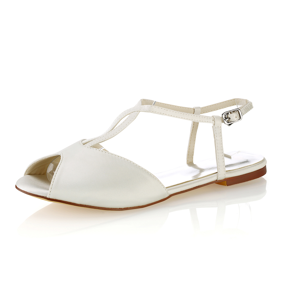Flats Peep Toe Slingbacks Flat Heel Satin Wedding Shoes With Buckle