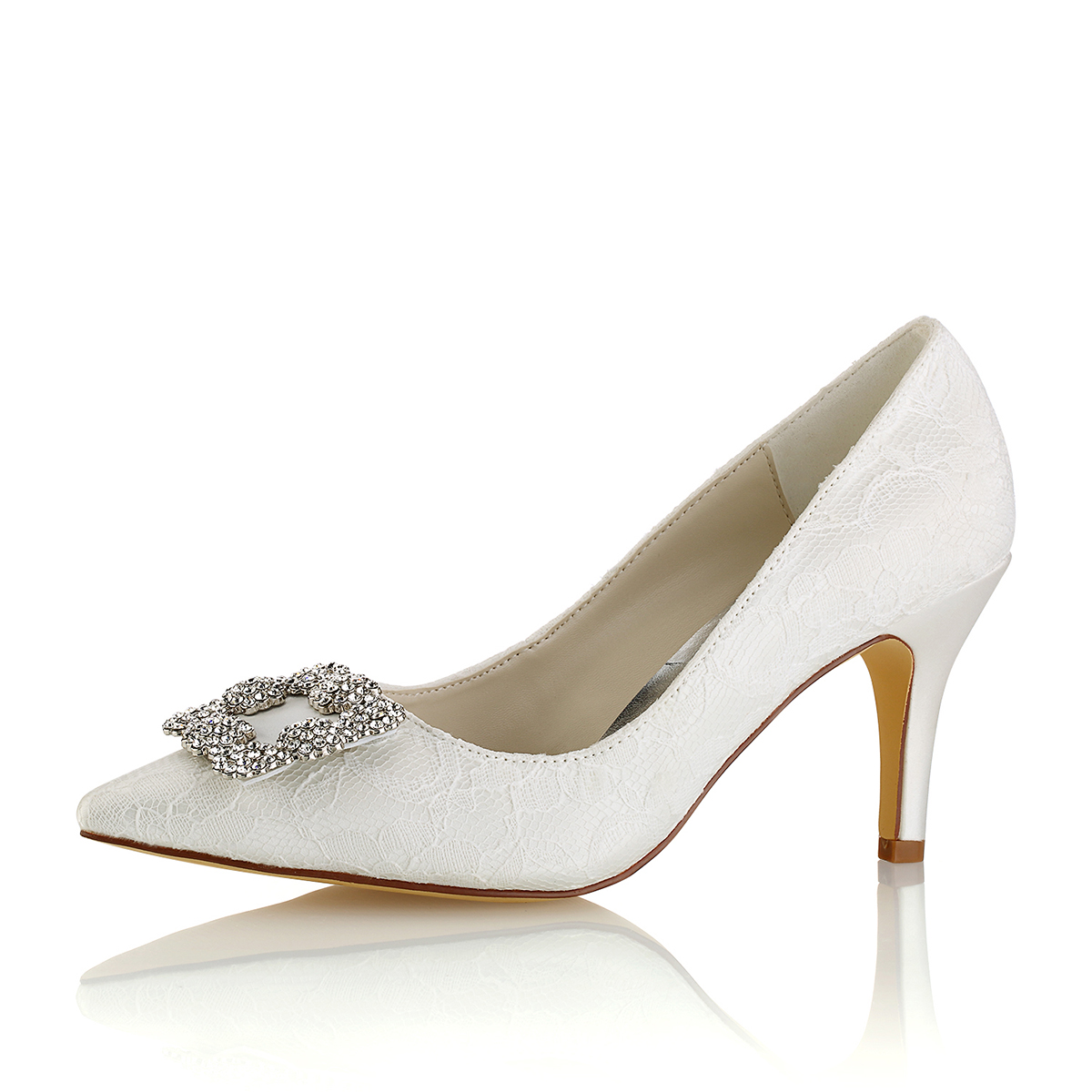 Close Toe Pumps Wedding Shoes Stiletto Heel Wedding Shoes With Rhinestone