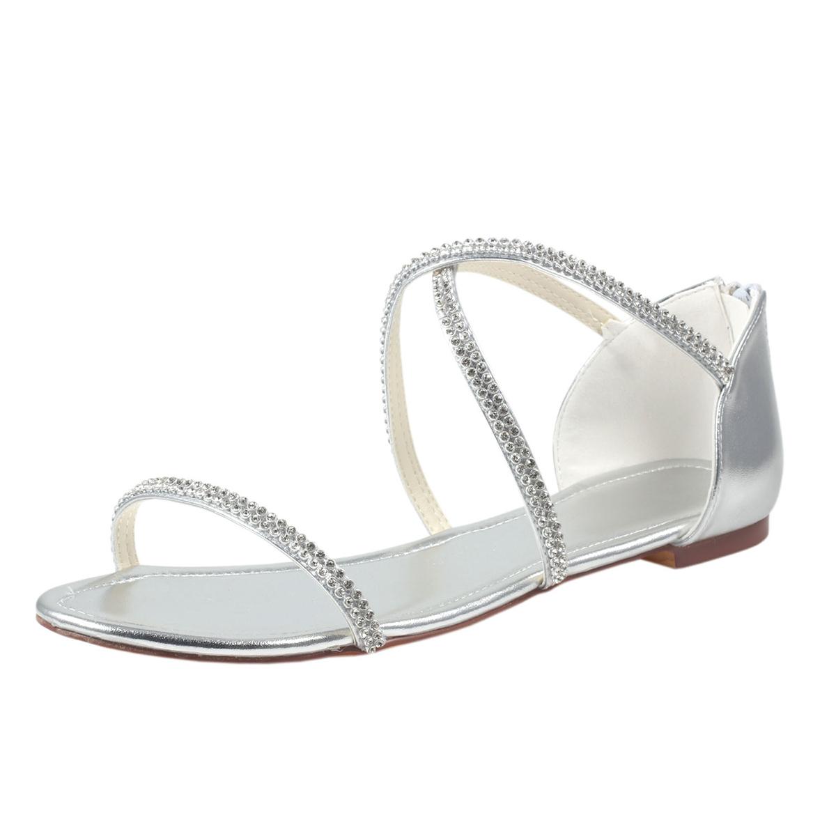 Flats Sandals Flat Heel Patent Leather Wedding Shoes With Rhinestone Zipper