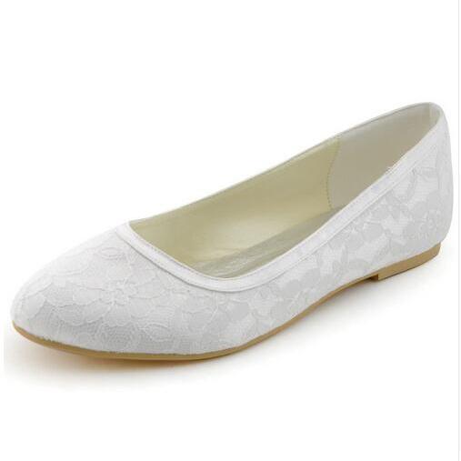 Flats Dance Shoes Round Toe Flat Heel Lace Wedding Shoes