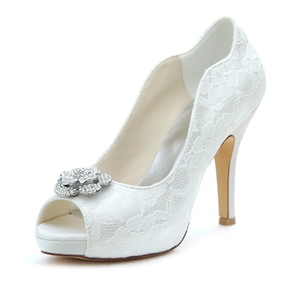 Peep Toe Platform Pumps Stiletto Heel Lace Wedding Shoes With Rhinestone