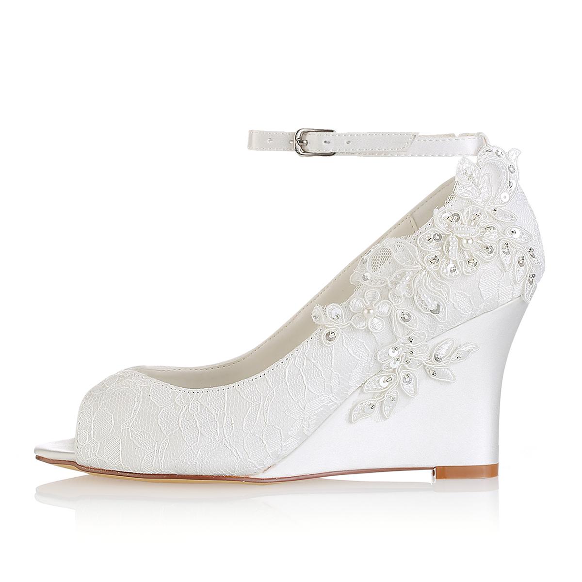 Lace Wedding Shoes.Peep Toe Wedges Wedding Shoes Wedge Heel Lace Wedding Shoes With Appliqued Buckle Imitation Pearl Sequins Feeltimes