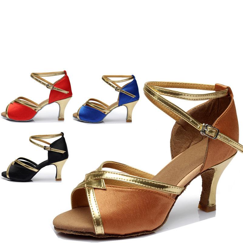 Peep Toe Kitten Heel Satin Dance Shoes With Buckle