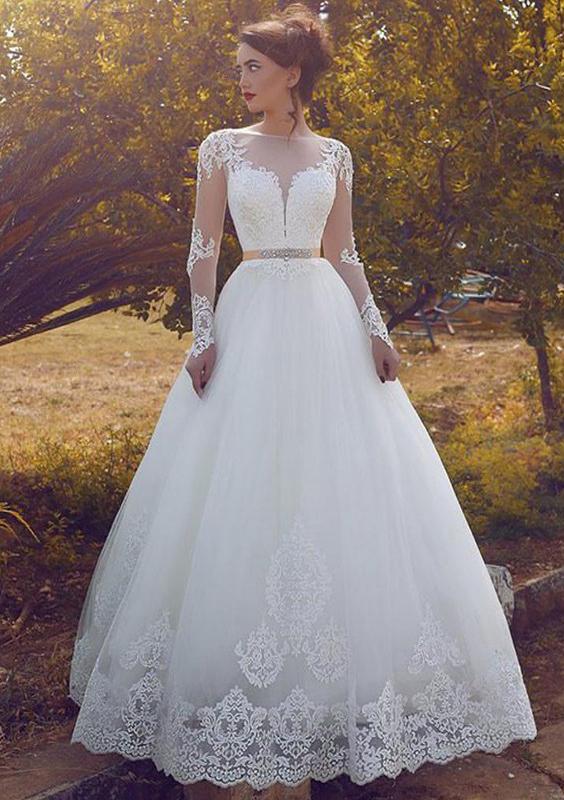 A-Line/Princess Bateau Full/Long Sleeve Long/Floor-Length Tulle Wedding Dress With Appliqued Waistband