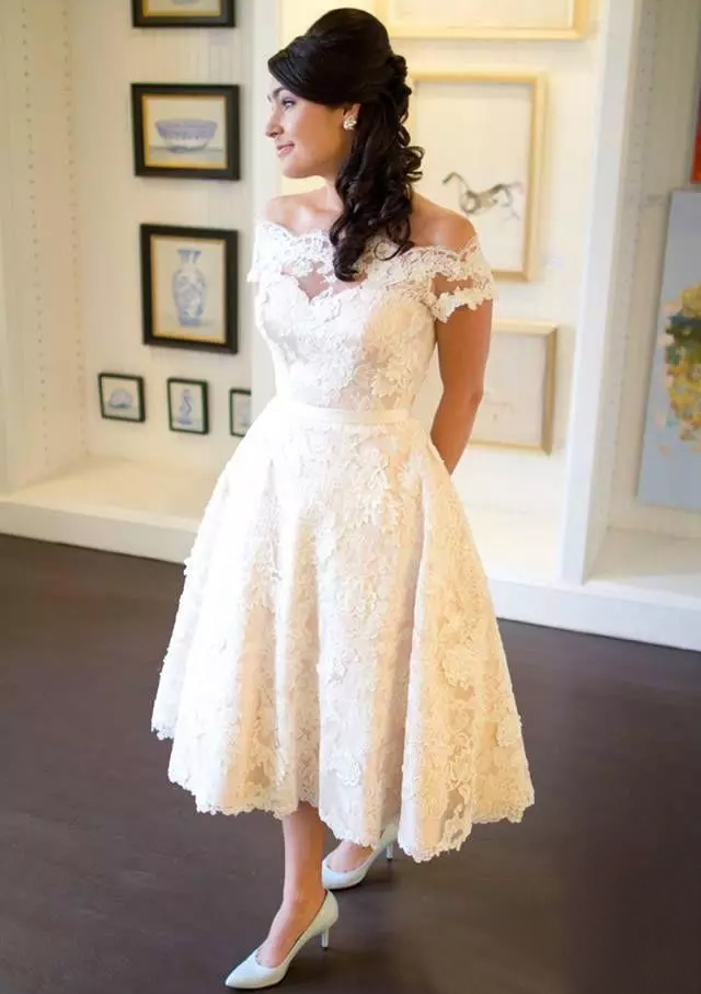 A Lineprincess Off The Shoulder Sleeveless Tea Length Lace Wedding Dress Feeltimes