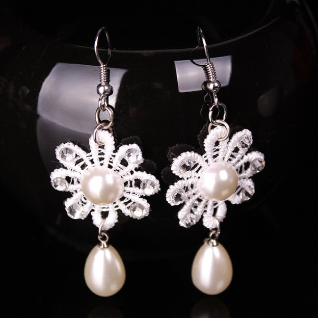 Basketwork Irregular Earclip Jewelry Sets With Imitation Pearls