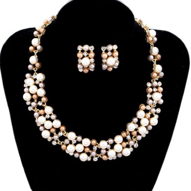 Alloy Irregular Pierced Jewelry Sets With Imitation Pearls