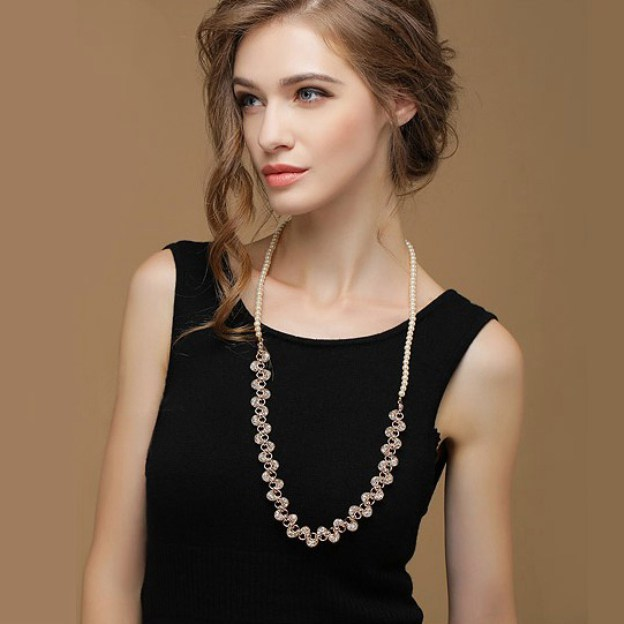 Alloy Fashion Necklace With Pearl Rhinestones