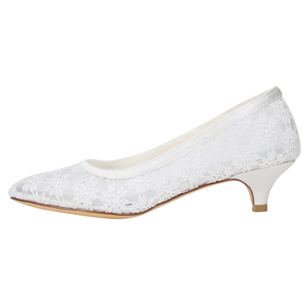 Close Toe Kitten Heel Charmeuse Wedding Shoes