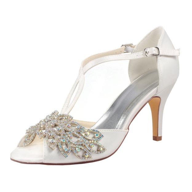 Peep Toe Stiletto Heel Satin Wedding Shoes With Imitation Pearl
