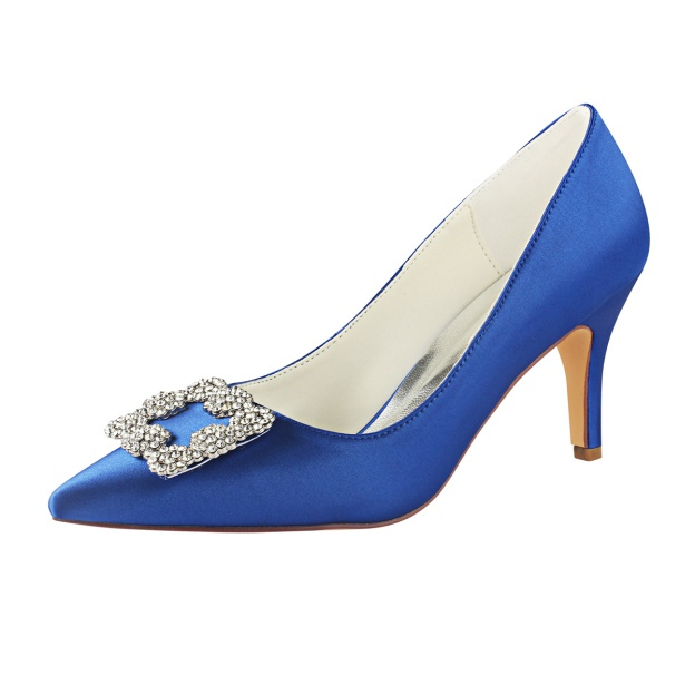 Close Toe Stiletto Heel Satin Wedding Shoes With Rhinestone