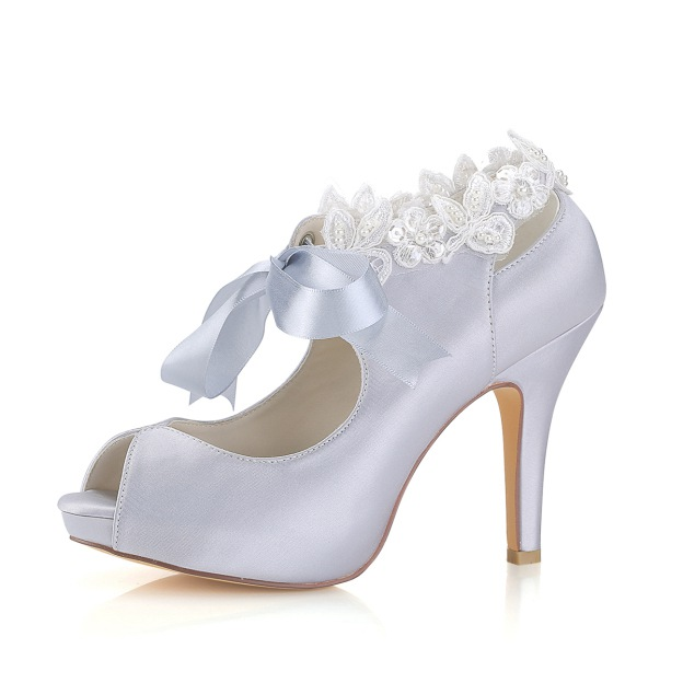 Peep Toe Platform Stiletto Heel Satin Wedding Shoes With Appliqued Bowknot