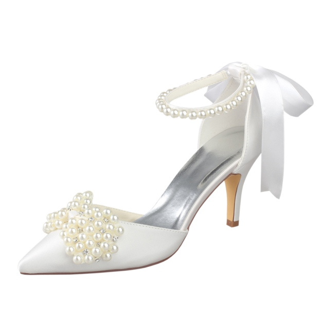 Close Toe Sandals Stiletto Heel Satin Wedding Shoes With Imitation Pearl