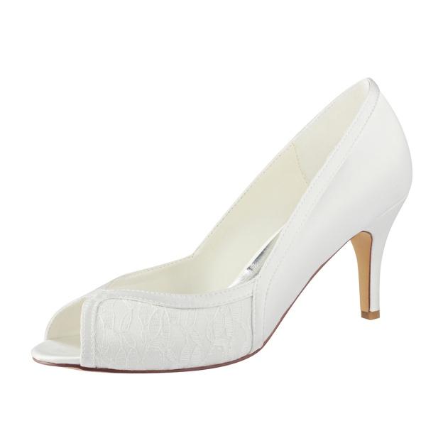 Peep Toe Stiletto Heel Satin Wedding Shoes With Lace